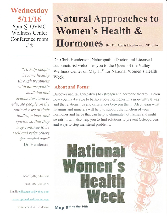 Womens Health and Hormone Flyer